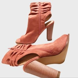 Liliana slouchy suede peep-toe ankle booties